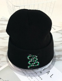 Fashion Black+green Embroidery Snake Decorated Hat