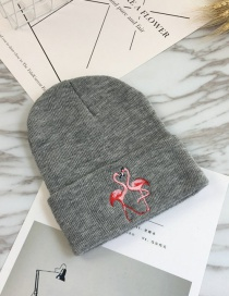 Fashion Gray Embroidery Flamingo Decorated Hat