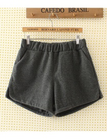 Fashion Dark Gray Pure Color Decorated Shorts