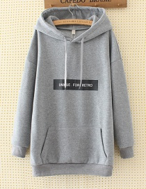Fashion Gray Letter Decorated Long Hoodie