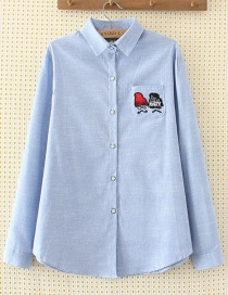 Elegant Blue Hat Pattern Decorated Shirt