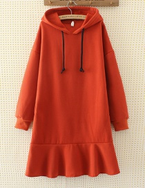 Fashion Orange Pure Color Decorated Long Hoodie