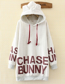 Fashion White Ear Shape Decorated Long Hoodie