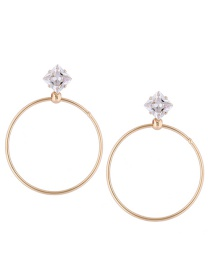 Fashion Gold Color Square Shape Diamond Decorated Round Earrings