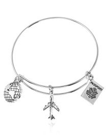 Fashion Silver Color Aircraft Shape Decorated Bracelet