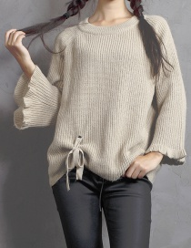 Fashion Light Khaki Lacing Decorated Sweater
