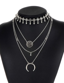 Vintage Silver Color Hollow Out Decorated Multilayer Choker