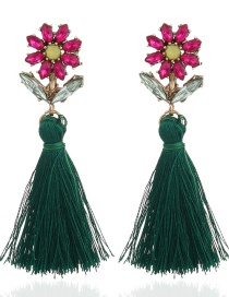 Bohemia Green Flower Shape Decorated Tassel Earrings