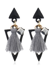 Bohemia Gray Hollow Out Triangle Shape Decorated Earrings