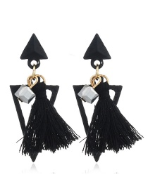 Bohemia Black Hollow Out Triangle Shape Decorated Earrings