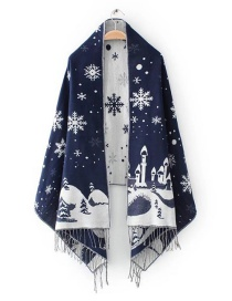 Fashion Navy Snowflower Pattern Decorated Scarf