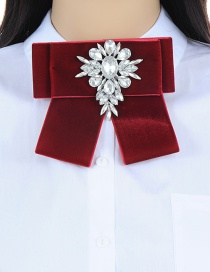 Fashion Claret Red Oval Shape Decorated Bowknot Brooch