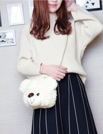 Fashion White Bear Shape Decorated Shoulder Bag