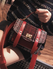 Fashion Red Grid Pattern Decorated Handbang
