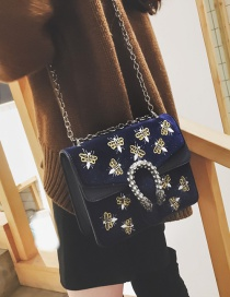 Fashion Blue Bee Pattern Decorated Shoulder Bag