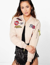 Fashion Khaki Letter Pattern Decorated Jacket