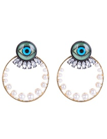 Fashion Gold Color +white Eye Pattern Decorated Earrings