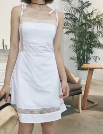 Fashion White Pure Color Decorated Dress