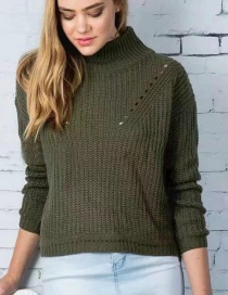 Fashion Olive Green Pure Color Decorated Sweater