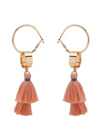 Fashion Gold Color+pink Tassel Decorated Earrings