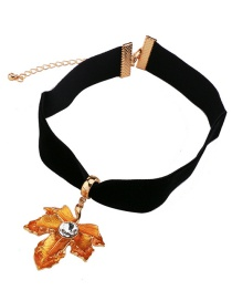 Fashion Black+orange Leaf Shape Decorated Necklace