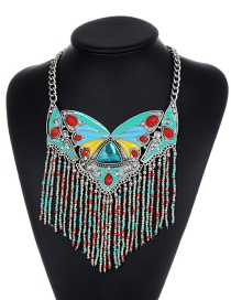 Fashion Lake Blue Tassel Decorated Necklace