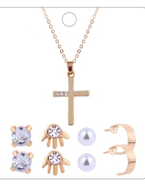 Fashion Gold Colour Cross Shape Decorated Jewelry Set ( 9 Pcs )