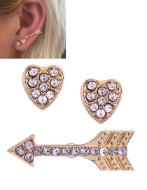 Fashion Gold Colour Heart&arrow Shape Decorated Earrings (3 Pcs )