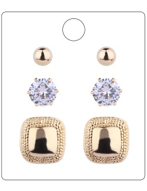 Fashion Gold Colour Square Shape Decorated Earrings ( 6 Pcs )