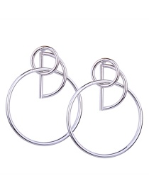 Fashion Silver Colour Circular Ring Shape Decorated Earrings