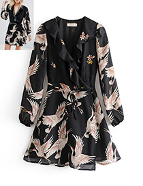 Trendy Black Crane Pattern Decorated Dress