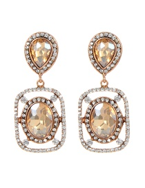Fashion Champagne Square Shape Decorated Earrings