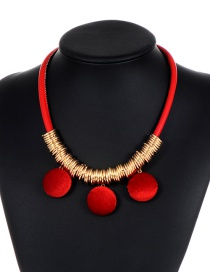 Fashion Red Pom Ball Decorated Necklace