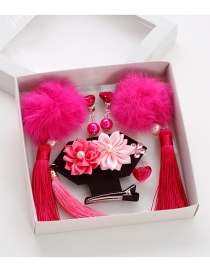 Lovely Plum-red Fuzzy Ball Decorated Hair Clips (6pcs)
