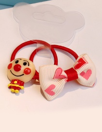 Fashion Red+beige Bowknot Shape Decorated Hair Band (1pair)