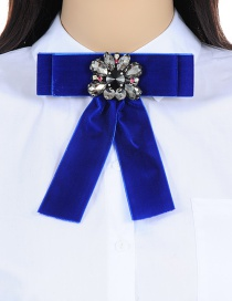 Fashion Sapphire Blue Flower Shape Decorated Bowknot Brooch
