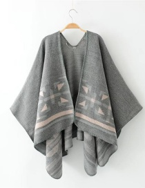 Fashion Gray Triangle Pattern Decorated Scarf