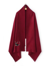 Fashion Claret Red Girl Pattern Decorated Sacrf