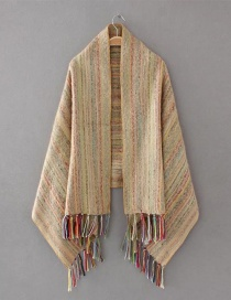 Fashion Beige Tassel Decorated Scarf