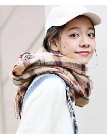 Fashion Khaki Grid Pattern Decorated Scarf