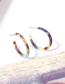 Fashion Blue Circular Ring Shape Decorated Earrings