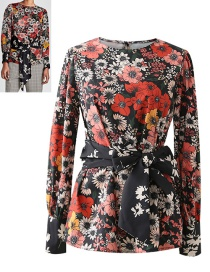 Fashion Red+black Flower Pattern Decorated Shirt