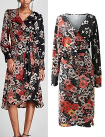 Fashion Red+black Flower Pattern Decorated Dress