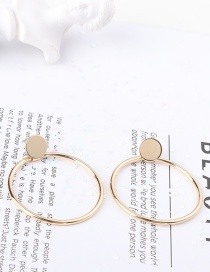 Fashion Gold Color Circular Ring Decorated Pure Color Earrings