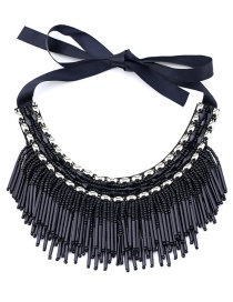 Vintage Black Beads Decorated Tassel Design Necklace
