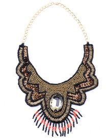 Vintage Gold Color Beads&diamond Decorated Tassel Necklace