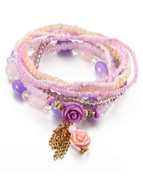 Vintage Light Purple Flower&tassel Decorated Multi-layer Beads Bracelet