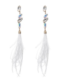 Trendy White Feather Pendant Decorated Long Earrings