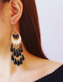 Fashion Black+gold Color Beads Pendant Decorated Tassel Earrings