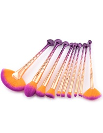 Trendy Purple+orange Sector Shape Decorated Cosmetic Brush(10pcs)